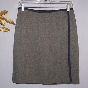 Anne Klein II Brown Wool Wrap Skirt - Size 10
